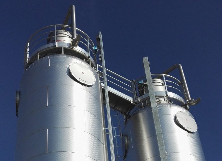 ATEX SILOS WITH EXPLOSION VENT PANELS ON GALVANISED IRON FRAME -